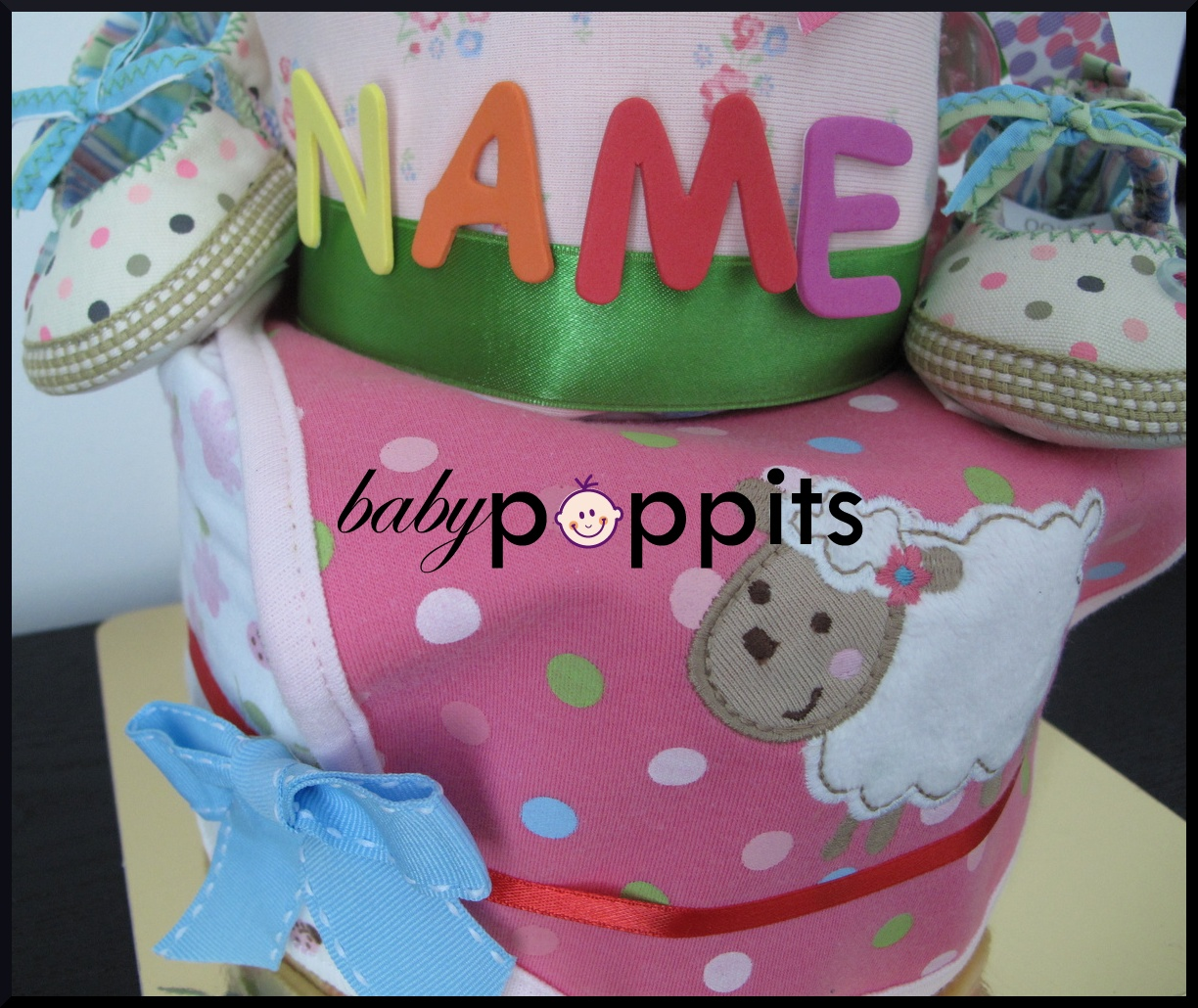 Woolly Lamb Two Tier Diaper Cake - Click Image to Close