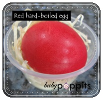 Red hard-boiled eggs