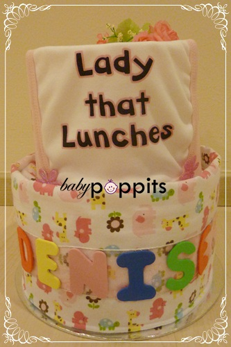 Lady That Lunches Two Tier Diaper Cake - Click Image to Close