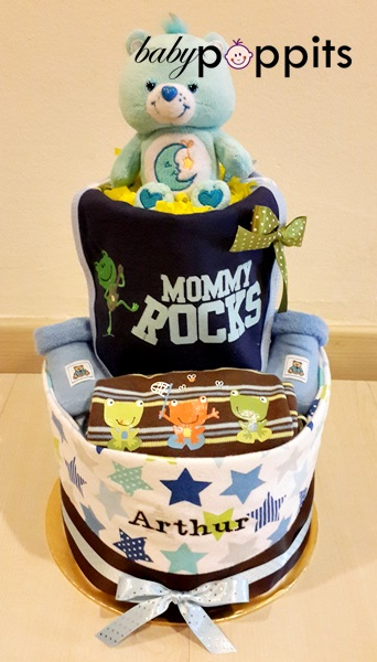 Happy Cars Two Tier Diaper Cake - Click Image to Close